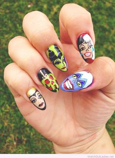 Disney nails painted for Halloween