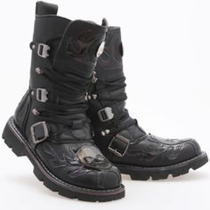 Cool Black Leather Skull Cyber Punk Emo Fashion Battle Boots Men SKU-1280537