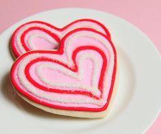 red + pink valentine sugar cookies