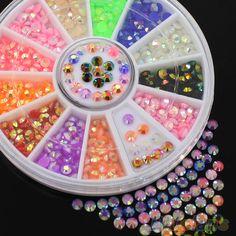 Kolorowe Fluorescencyjne Akrylowe 3D Glitters DIY Naklejka Nail Art Naklejki Koła 4RAQ Stips