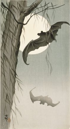 Bats In Moonlight ca. 1910 by Ohara Koson (1877-1945), Japan: Woodblock print; ink and color on paper