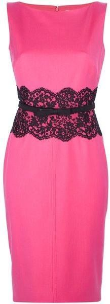 vestido pink com renda preta