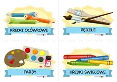 Plastyczne przybory szkolne – duże etykiety - Printoteka.pl Kindergarten, Map, Location Map, Kindergartens, Maps, Preschool, Preschools, Pre K, Kindergarten Center Management