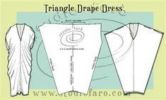 Self-draft patterns from simple shapes. Pattern Puzzle - Triangle Drape Dress #wellsuitedblog #patternpuzzles #creativepatternmaking #studiofaro #patternmaking #dressblock #drapepatterns #drapedresses