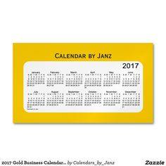 2017 Gold Business Calendar by Janz Magnet Magnetic Business Card