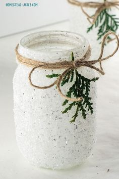 Snowy Mason Jar Candle Holder. Quick and easy Christmas craft that just looks so pretty sitting on your table or mantel.
