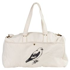 """Falcon Duffel Bag. Duffle Bag Makes a great weekender bag or gym bag 100% cotton canvas with faux leather accents and brass hardware Adjustable shoulder strap with lobster clasps for removal Large external pocket with snap closure Internal cell phone pocket 22"""" W x 12"""" H x 8.5"""" D 29"""" Handles Shoulder strap adjusts from 26"""" to 46"""""""