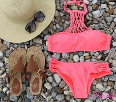 Halter Net Bikinis are right on trend this season! Making this the perfect OOTD!
