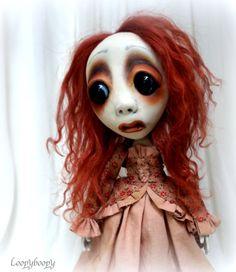 Loopy ooak Goth Gothic Dark Creepy Cute Art Doll by loopyboopy