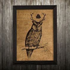 Owl print. Bird poster. Animal decor. Burlap print.  PLEASE NOTE: this is not actual burlap, this is an art print, the image is printed on art