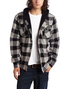 Burnside Men's Venice Young Mens Flannel Hooded Jacket With Sherpa