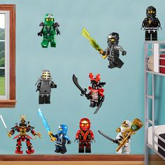 Ninjago Lego 9 Characters Decal Removable WALL by PrintaDream
