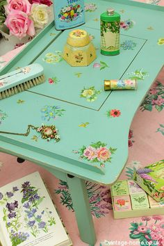 Vintage Home Shop - The Prettiest Hand Painted Floral Table Tray: www.vintage-home.co.uk