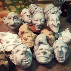 Prototypes for Ronnie Burkett and the Daisy Theatre marionettes. Clay Dolls, Art Dolls, Ceramics Projects, Art Projects, Clay Faces, Paperclay, Sculpture Clay, Stop Motion, Clowns