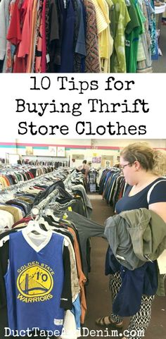 10 tips for buying thrift store clothes. and a few ideas to upcycle them, too. Our top 10 tips for buying thrift store clothes. These thrifting tips will help you save both time and money on your family's wardrobe. Thrift Store Outfits, Thrift Store Refashion, Thrift Store Shopping, Thrift Store Crafts, Thrift Stores, Thrift Shop Clothes, Upcycled Clothing Thrift Store, Clothes Refashion, Sweater Refashion