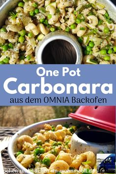 Vegetarische Carbonara als One Pot Rezept für die campingküche Zucchini, Pot Pasta, One Pot, Meat, Food, New Recipes, Vegetarian Recipes, Rv, Stew
