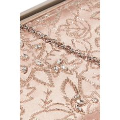 Oscar de la Renta Saya embellished satin clutch ($2,260) ❤ liked on Polyvore featuring bags, handbags, clutches, pink clutches, cocktail purse, sparkly purses, evening clutches and beaded clutches