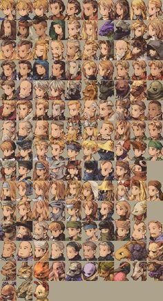 Character portraits by Akihiko Yoshida, from Final Fantasy Tactics (1997).