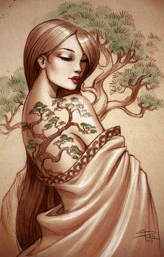 Bonzai tree lady art illustration by www.Facebook.com/Sabine.Rich.Artist