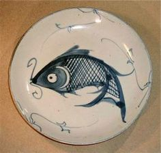 Ching Antique Blue & White Chinese Glaze Pottery Fish Dish Plate http://www.busaccagallery.com/catalog.php?catid=130=5904=1