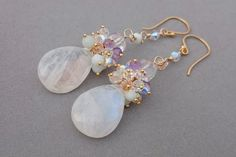 Rainbow Moonstone Earrings with Amazonite, Amethyst, Swarovski and Rock Crystal Cluster with Gold Fill