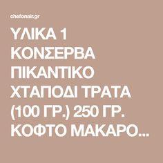 ΥΛΙΚΑ 1 ΚΟΝΣΕΡΒΑ ΠΙΚΑΝΤΙΚΟ ΧΤΑΠΟΔΙ ΤΡΑΤΑ (100 ΓΡ.) 250 ΓΡ. ΚΟΦΤΟ ΜΑΚΑΡΟΝΑΚΙ 3 ΦΡΕΣΚΑ ΚΡΕΜΜΥΔΑΚΙΑ 300 ΓΡ. ΦΡΕΣΚΟ ΣΠΑΝΑΚΙ 1 ΣΦΗΝ. ΟΥΖΟ 16 ΝΤΟΜΑΤΙΝΙΑ 1/4 Κ.Γ. ΜΟΣΧΟΚΑΡΥΔΟ ΤΡΙΜΜΕΝΟ 2-3 Κ.Σ. ΣΟΥΣΑΜΙ ΚΑΒΟΥΡΔΙΣΜΕΝΟ 1 Κ.Γ. ΠΑΠΡΙΚΑ ΑΛΑΤΙ–ΠΙΠΕΡΙ ΕΚΤΕΛΕΣΗ Βράζουμε το κοφτό μακαρονάκι σε αλατισμένο νερό. Σωτάρουμε σε ελαιόλαδο αρωματισμένο με μοσχοκάρυδο και πάπρικα, το φρέσκο κρεμμυδάκι. … Food And Drink