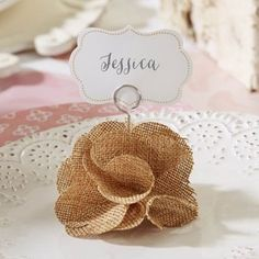 Burlap Rose Place Card Holders add a touch of rustic charm to your reception tables. Burlap Rose Card Holders are a unique and ristoc place card holder. Wedding Places, Wedding Place Cards, Rustic Wedding Favors, Wedding Decorations, Flower Places, Burlap Flowers, Place Card Holders, Handmade, Crafts