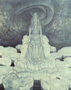 内田善美『白雪姫幻想』の末巻「スノーホワイトグラフィティ」の右ページ真ん中のコマで<E・デュラクが描いた挿絵の中にグレイシィな深いグリーンの美しいSNOW QUEENの絵がありますが、、、> とあるのは↑この絵のコトだと思うゎ。