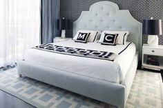 Geometric area rug! under bed. Great idea instead of carpeted floors.