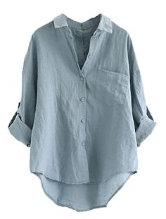 04118df1de3d1 MatchLife  Women s Linen Blouse Summer Loose  Shirt Button Down Tunic Tops - Blue