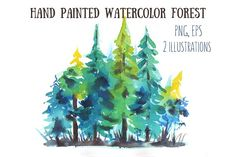 Hand painted watercolor forest by mistakeann on @creativemarket