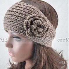 NEW Women Crochet Khaki Headband Lady Hademade Knit Flower Ear Warmer Headwrap