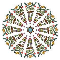 Sabbath Circle  Mandala Art Print by mishmishmarket on Etsy, $36.00