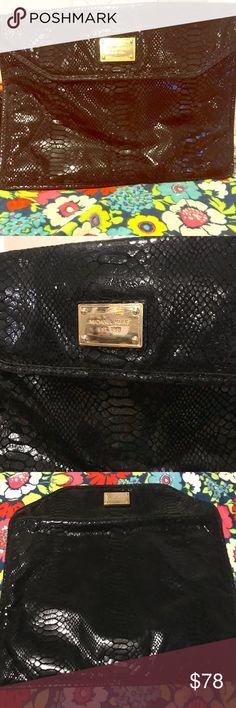 Michael Cors black python print computer sleeve Michael Kors Black Python-print Embossed Leather Slim Sleeve Python-embossed Laptop Bag. Inside foil liner has some damage, see pics Michael Kors Accessories Laptop Cases