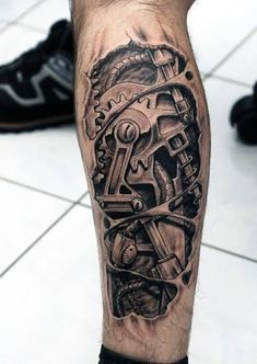 Nice Biomechanical Leg Tattoos