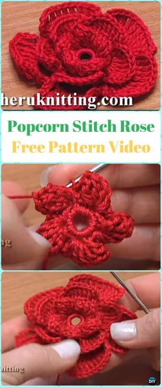 Crochet Rose Flowers Free Patterns & Tutorials: Easy Crochet Rose, Single Stripe Rose, Layered Rose, Interlocking Ring Rose, Puffy or Popcorn Rose Crochet Puff Flower, Crochet Flower Tutorial, Crochet Leaves, Crochet Flower Patterns, Love Crochet, Crochet Motif, Beautiful Crochet, Irish Crochet, Crochet Doilies
