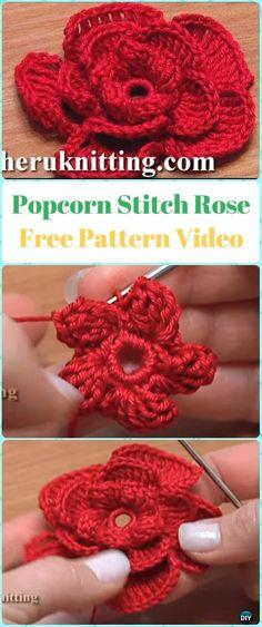 Crochet Popcorn Stitch Rose Flower Free Pattern Video - Crochet 3D Rose Flower Free Patterns