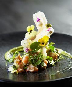 Delaire Graff Restaurant, Stellenbosch, South Africa. Octopus prawn pickled radish peas