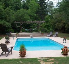 Nice Simple Pool- right off back porch; length of porch ...