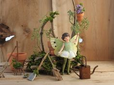 May Fairy with Gardener's Bench Fairy's by OliveNatureFolklore