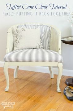 Part 2 of a two part tufted cane chair tutorial. Includes how to recover the buttons and reupholster the tufted chair back along with other tips and tricks. Cane Furniture, Furniture Projects, Furniture Making, Painted Furniture, Furniture Refinishing, Distressed Furniture, Refurbished Furniture, Repurposed Furniture, Diy Projects