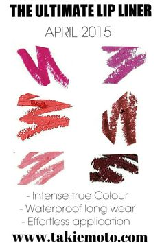 Colours Shown (top right to left): PINK POUT, NARCISSIST, TAKE ME, HOT TAMALE, RIBBON, WINERY Available at www.takiemoto.com