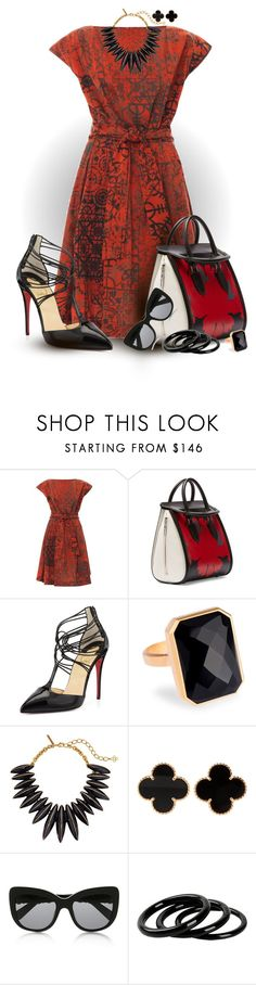 """""""Red Dress"""" by kathy-martenson-sanko ❤ liked on Polyvore featuring Vivienne Westwood Anglomania, Alexander McQueen, Christian Louboutin, Ringly, Oscar de la Renta, Van Cleef & Arpels, Dolce&Gabbana and Furla"""