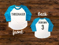Threenager Birthday Tee - Perfect for the birthday boy or girl! Main listing photo shows charcoal grey font for the design - but you can select from ANY of our font options - glitter & solid colors available. ►TO ORDER In the notes to seller section upon checkout, please let us know: 1. Childs Name ________________________________________________________ ►PRODUCT DESCRIPTION Design available on our super soft American Apparel Unisex Raglan Tees Pink/White, Blue/White, Black&#...