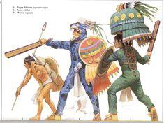 Aztec warriors including a jaguar warrior.