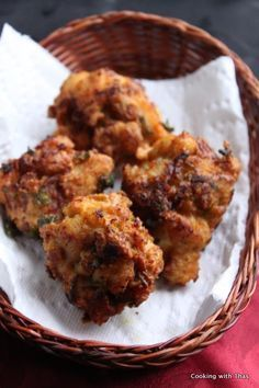 chicken-pakora. Try this! Seems like a very simple and flavorful alternative to fried chicken.