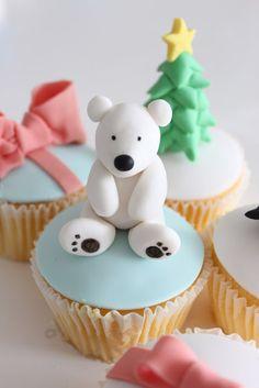 sharon wee - wee love baking - christmas - christmas cupcakes - bear cupcake christmas tree cupcake~ LOVE THESE! Bear Cupcakes, Fancy Cupcakes, Baking Cupcakes, Yummy Cupcakes, Cupcake Cakes, Fondant Cupcakes, Christmas Tree Cupcakes, Christmas Cake Topper, Christmas Cake Decorations