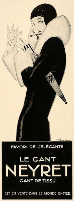 """mote-historie: """" René Vincent, Le Gant Neyret Paris gloves, Art Deco Fashion, 1930. """""""