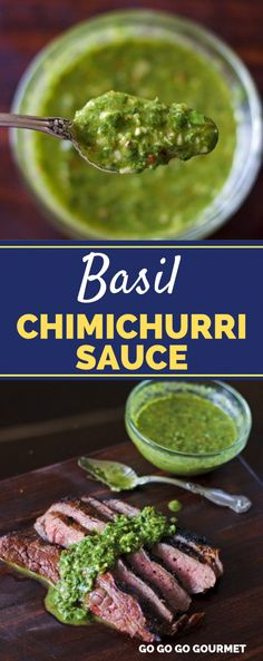 flank steak tacos This easy Basil Chimichurri Sauce recipe is perfect for topping flank steak, chicken, or even grilled shrimp! Out of all of the sauces, this recipe is my absolute fa Fresh Basil Recipes, Herb Recipes, Cooking Recipes, Healthy Recipes, Easy Recipes, Steak Toppings, Steak Sauce Recipes, Flank Steak Recipes, Sauces