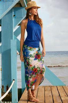 Boston Proper Hibiscus print skirt